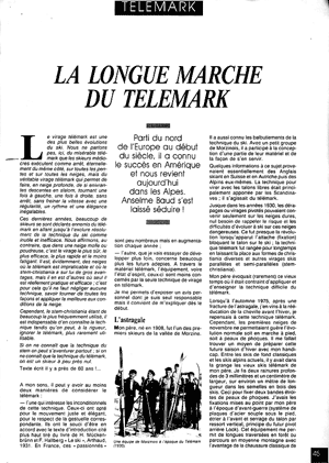 Article d'Anselme Baud sur la longue marche du telemark